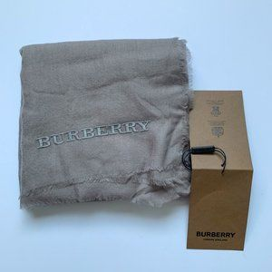 Burberry Solid Embroidered Taupe Cashmere scarf